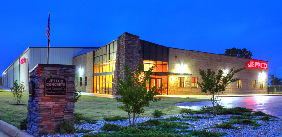 JEFFCO Concrete building at night